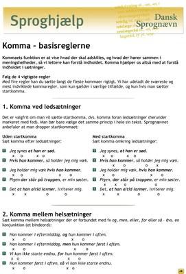 Komma - basisreglerne