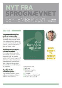 Forsiden af Nyt fra Sprognævnet, september 2021